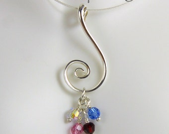 Silver Spiral Mothers Pendant with Four Swarovski Crystal Birthstone Dangles, Family Pendant, 4 Birthstones, Mothers Birthstone Necklace SN7
