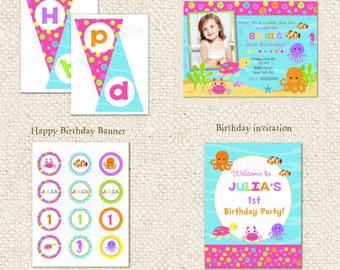 Under the Sea - DIY Printable Personalized Birthday Party Package Party Pack