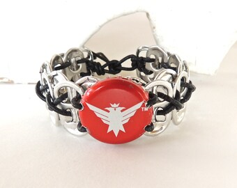 Bottle Cap Wristband - Smirnoff - Choose S, M, L, XL - red/ black - masculine/unisex - recycled/eco-friendly -  gifts under 15.00