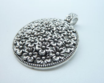 4pcs 45X58mm Antique Silver Lovely Filigree Round Flower Charm Pendant C2343