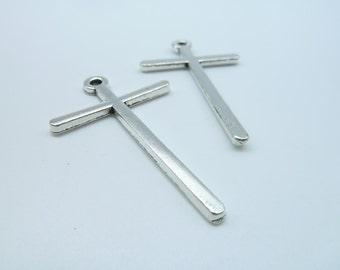 10pcs 30x48mm Antique Silver Cross Charms Pendant C2380