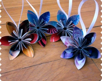 Dior Recycled Ornaments - Paper Flower Set of 4 - Eco Friendly Holiday, High Fashion