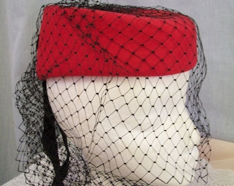 Vintage Red Wool Hat, Chapeau Creations Original Design, Black Netting, Rhinestones