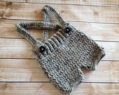 Crochet Baby Shorts/Pants with Suspenders- Diaper Cover in Gray Newborn to 6 Month Size- MADE TO ORDER