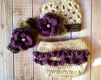 The Sofia Flower Beanie in Wheat, Dusty Purple and Taupe with Matching Diaper Cover and Headband Available in Four Sizes- MADE TO ORDER
