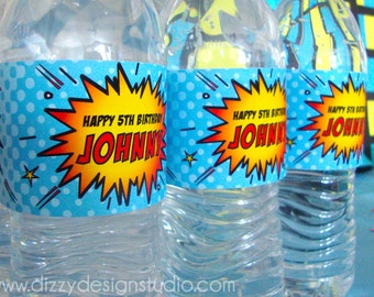 Super Hero Birthday Party Water Bottle Label