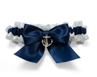 Wedding garter - bridal garter - navy blue and white garter and silver anchor - navy blue garter - navy blue nautical garter - anchor garter