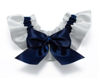 Wedding garter - bridal garter - navy blue and white garter - navy blue garter - blue and white garter - blue toss garter - blue garter