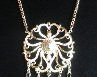 Vintage Huge Pendant Necklace, Fleur De Lis Dangles, Medallion Style Pendant