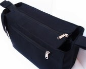 Extra tall LargeBag insert /Purse insert with Zipper closure and iPad case in Black fabric