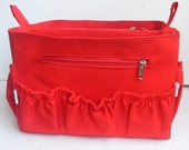 Purse insert fits MZ Wallace Large tote metro- Diaper Bag organizer in Red Fabric