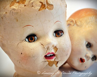 doll heads with brown eyes art photo, broken doll photograph, shabby chic, antique doll heads, old toys