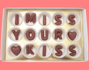 Long Distance Relationship Gift for Boyfriend Girlfriend Romantic Gift Men Women Her Him BF GF I Miss Your Kiss Large Milk Chocolate Letters