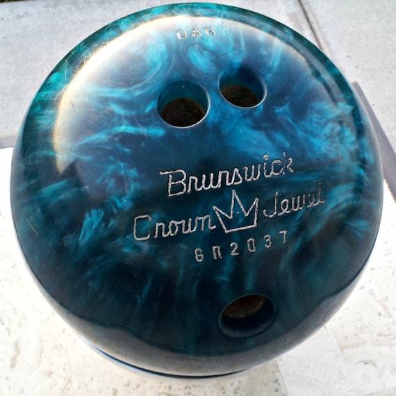Vintage Brunswick Crown Jewel Bowling Ball Blue Shiny Swirls