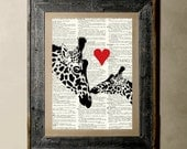 Buy 1 get 1 Free - Giraffe Love - Printed on a Vintage Dictionary, 8X10, dictionary art, paper art, illustration art, collage