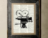 Buy 1 get 1 Free - Camera - Printed on a Vintage Dictionary, 8X10, dictionary art, paper art, illustration art, collage