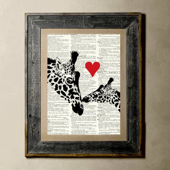 Giraffe Love - Printed on a Vintage Dictionary, 8X10, dictionary art, paper art, illustration art, collage, wall art, wall decor