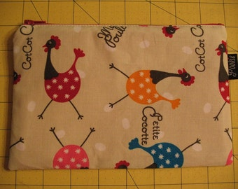 Zippered Pouch - Roosters