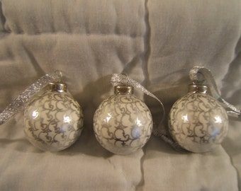 White and silver hand painted glass ornaments set of 3