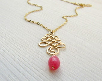 Dainty eveyday necklace. Gold infinity knot necklace. Pink drop necklace. Gold spiral necklace