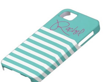 Personalized iPhone 5 or iPhone 6 Monogram Case- Stripes- Personalized iPhone Case, Monogram iPhone Case, Aqua with Hot Pink