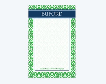 "Personalized Notepad with Family Names-  Monogram Stationery- 5.5"" x 8.5"""