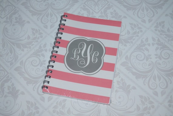 Personalized/ Custom Notebook- Preppy Stripes with Monogram- 100 sheets