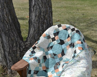 Patchwork Quilt in Peach Turquoise, Sweet Serenade by Basic Grey, Moda, Aqua Sofa Blanket, Peach Lap Quilt, Music Lover Gift