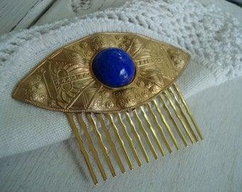 Vintage Art Deco Textured Gold Hair Comb Lapis lazuli Glass Egyptian Inspired