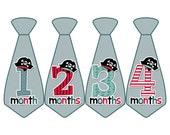 Monthly Boy Tie Stickers, Monthly Bodysuit Stickers, Monthly Stickers, Baby Month Stickers, Monthly Milestone Stickers, Pirates (BF063)
