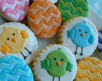 Easter cookies - chick and chevron egg cookies - 1 dozen Easter cookies - decorated cookies - Easter gifts