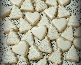 Wedding cookies - MINI wedding cakes and hearts - decorated cookie favors - 2 dozen