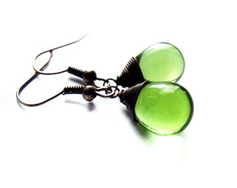 Green Drop Earrings  - Natural, Wire Wrapped, Adorable Drop Earrings in Green