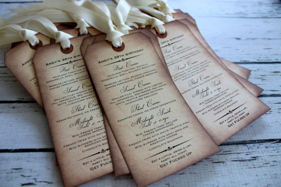 Vintage Inspired Menu Card Tag / Place Card