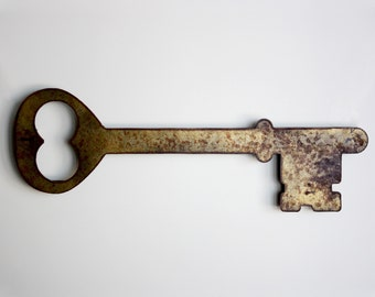 "Skeleton Key metal wall art - 37"" long x 13.25"" wide - key art - Metallic Gold with rust accents patina"