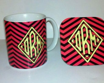 Personalized chevron monogrammed ceramic coffee mug and matching coaster set Mother's Day