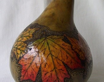 Large green gourd box, maple leaves wood burned. 1761.
