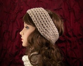 Hand knit headband, headwrap, ear warmer - taupe brown - women's winter accessories Winter Fashion by Sandy Coastal Designs ready to ship