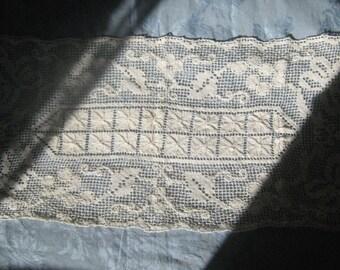 Vintage French Farmhouse Style Hand  CrochetTableRunner/Dresser Scarf