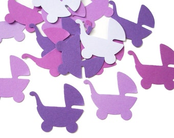 50 Mixed Purple Baby Carriage Confetti, Baby Shower Party Decorations - No1044