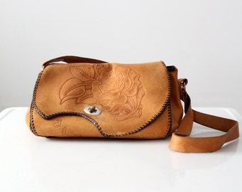 1970s tooled leather satchel bag