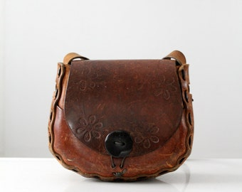 1970s leather handbag, hippie tooled leather purse