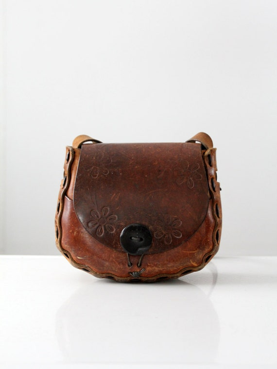 1970s leather handbag, hippie tooled leather purse