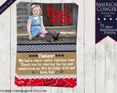American Cowgirl - A Customizable Thank You Card - Cowgirl Party - Western Party