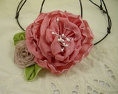 Pink Taffeta Cabbage Rose Ribbon Flower Pin Brooch – Vintage Style Ribbon Flower – Wedding Prom Every Day