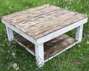 White Shabby Farmhouse Reclaimed Wood Coffee Table with ...