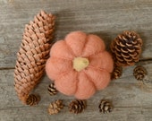 Needle Felted Pumpkin peach dusty rose autumn fall, natural thanksgiving, halloween, harvest decor eco friendly