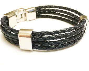 Navy braided leather cord with Silver Clip on buckle bracelet
