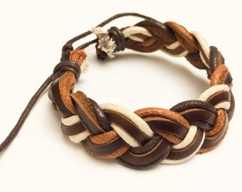 Light Brown and Ivory braided hemp cord with Brown Leather Bracelet