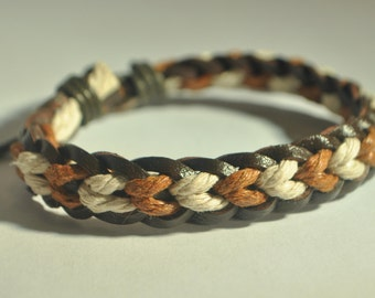 Ivory and Brown hemp cord and Brown leather braided bracelet